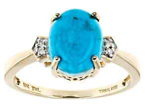 Pre-Owned Blue Turquoise 10k Yellow Gold Ring .01ctw