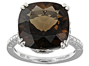 Pre-Owned Brown Smoky Quartz Sterling Silver Ring 7.55ct