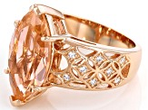 Pre-Owned Morganite Simulant And White Cubic Zirconia 18k Rose Gold Over Sterling Silver Ring 7.39ct