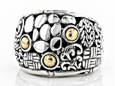Pre-Owned Silver And 18kt Gold Accent Ring