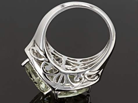 Pre-Owned Prasiolite Sterling Silver Ring 6.02ctw