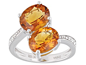 Pre-Owned Orange Madeira Citrine Sterling Silver Bypass Ring 3.07ctw