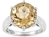 Pre-Owned Womens Solitaire Ring Champagne Quartz 6.50ctw 12mm Sterling Silver
