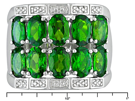 Pre-Owned Green Chrome Diopside Sterling Silver Band Ring 4.08ctw