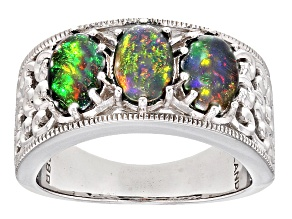 Pre-Owned Black Ethiopian Opal Sterling Silver Ring 1.40ctw