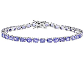 Pre-Owned 10.29ctw Oval Tanzanite Sterling Silver Tennis Bracelet