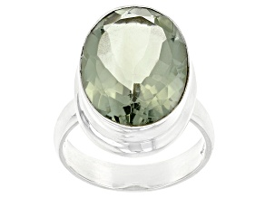 Pre-Owned Green Prasiolite Sterling Silver Solitaire Ring 10.50ct