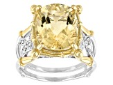 Pre-Owned Yellow Labradorite Two-Tone Sterling Silver Ring 5.32ctw