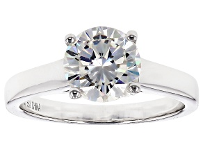 Pre-Owned White Strontium Titanate Sterling Silver Solitaire Ring 2.55ct