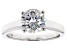 Pre-Owned White Fabulite Strontium Titanate Sterling Silver Solitaire Ring 2.55ct