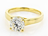 Pre-Owned White Fabulite Strontium Titanate 18k Gold Over Silver Ring 2.55ct