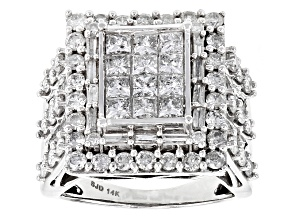 Pre-Owned White Diamond 14k White Gold Ring 3.50ctw