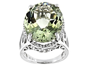 Pre-Owned Green Prasiolite Sterling Silver Ring 18.67ctw