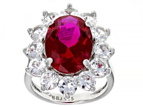 Pre-Owned Red Lab Created Ruby Sterling Silver Ring 9.76ctw