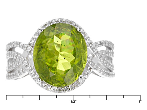 Pre-Owned Green Peridot Sterling Silver Ring 6.86ctw