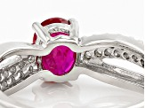 Pre-Owned Red Ruby Sterling Silver Ring .92ctw