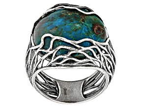 Pre-Owned Blue Peacock Rock Sterling Silver Ring