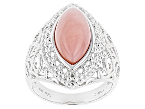 Pre-Owned Pink Peruvian Opal Sterling Silver Solitaire Ring