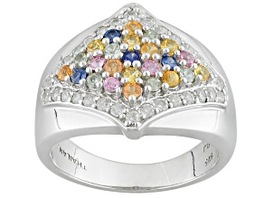 Pre-Owned Multi-Sapphire Sterling Silver Ring 1.14ctw
