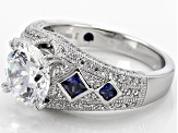 Pre-Owned White And Blue Cubic Zirconia Platineve Ring 5.69ctw