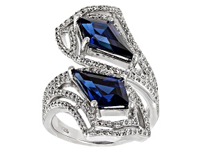 Pre-Owned Blue Lab Created Sapphire And White Cubic Zirconia Rhodium Over Sterling Ring 6.83ctw