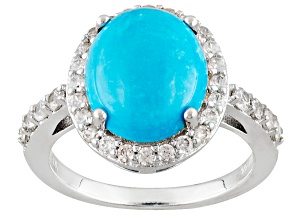 Pre-Owned Blue Sleeping Beauty Turquoise Sterling Silver Ring .77ctw