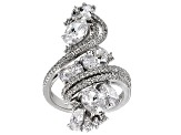 Pre-Owned White Cubic Zirconia Rhodium Over Sterling Silver Ring 7.99ctw