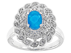 Pre-Owned Blue Ethiopian Opal Sterling Silver Ring .58ctw