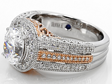 Pre-Owned Cubic Zirconia Platineve And 18K Rose Gold Over Sterling Silver Ring 5.16ctw
