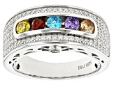 Pre-Owned Yellow, Blue, Brown, Purple, Red, & White Cubic Zirconia Rhodium Over Sterling Ring 1.76ct
