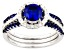Pre-Owned Blue And White Cubic Zirconia Rhodium Over Silver Ring With Bands 2.21ctw
