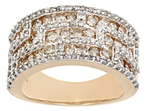 Pre-Owned Champagne And White Diamond 10k Rose Gold Ring 1.97ctw