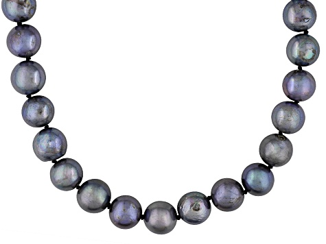 10-11mm Enhanced Black Cultured Freshwater Pearl Sterling Silver Single Strand Necklace