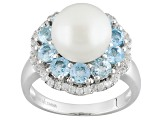 Cultured Freshwater Pearl With Blue Topaz And White Zircon Rhodium Over  Silver Ring