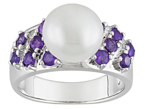 Cultured Freshwater Pearl With Amethyst Rhodium Over Sterling Silver Ring