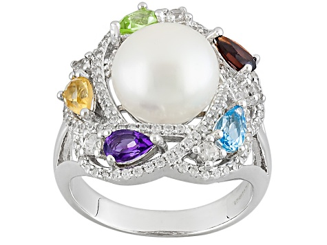 Cultured Freshwater Pearl, Peridot, Amethyst, Citrine, Topaz, Garnet And Zircon Sterling Silver Ring