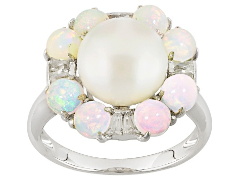 Cultured Freshwater Pearl With Opal And White Zircon Rhodium Over Sterling Silver Ring