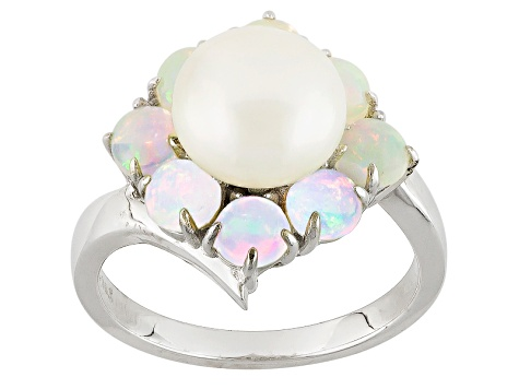 Cultured Freshwater Pearl With Multicolor Opal Rhodium Over Sterling Silver Ring