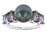 Cultured Freshwater Pearl With Mystic Topaz And Zircon Rhodium Over Sterling Silver Ring