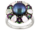 cultured freshwater pearl with mystic topaz and opal rhodium over sterling silver ring