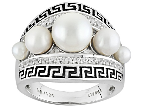 Cultured Freshwater Pearl With White Zircon Rhodium Over Silver Ring
