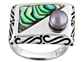 Cultured Freshwater Pearl And Fancy Abalone Sterling Silver Ring