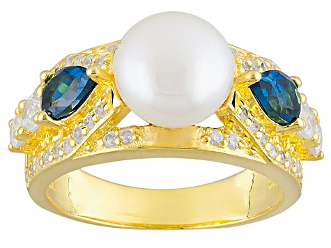 Cultured Freshwater Pearl, Blue Topaz And White Zircon 14k Yellow Gold Over Silver Ring