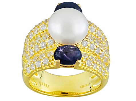 Cultured Freshwater Pearl, Star Sapphire And White Zircon 14k Yellow Gold Over Silver Ring