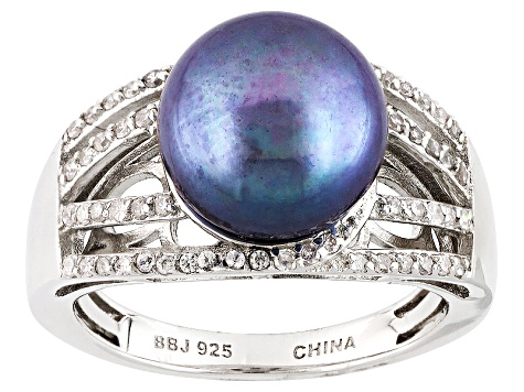 Cultured Freshwater Pearl With Diamond Rhodium Over Silver Ring 11mm