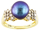 Cultured Freshwater Pearl With Diamond 18kt Yellow Gold Over Silver Ring 10mm
