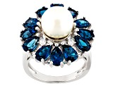 Cultured Freshwater Pearl, Blue Topaz And White Zircon Rhodium Over Silver Ring 10mm