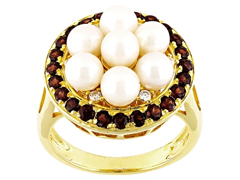 Cultured Freshwater Pearl, Garnet And White Zircon 18k Yellow Gold Over Silver Ring