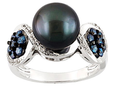 Cultured Tahitian Pearl With Blue Diamond And Zircon Rhodium Over Silver Ring