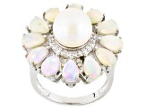 Cultured Freshwater Pearl, Opal And White Zircon Rhodium Over Silver Ring 10mm